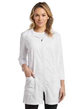 Picture of White Cross Zip Front Lab Coat