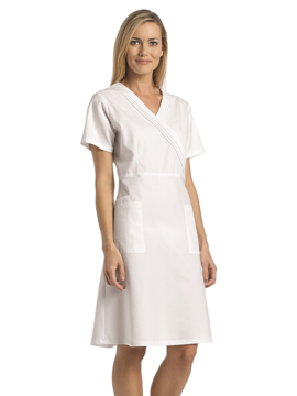 Picture of White Cross Mock Wrap Pleated Scrub Dress