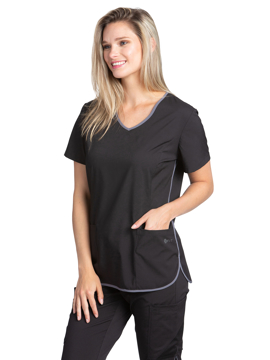 Picture of White Cross Fit Women's V-Neck Contrast Top