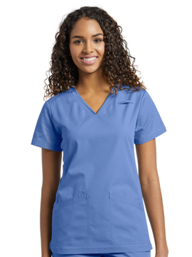Picture of White Cross V-Neck Scrub Top
